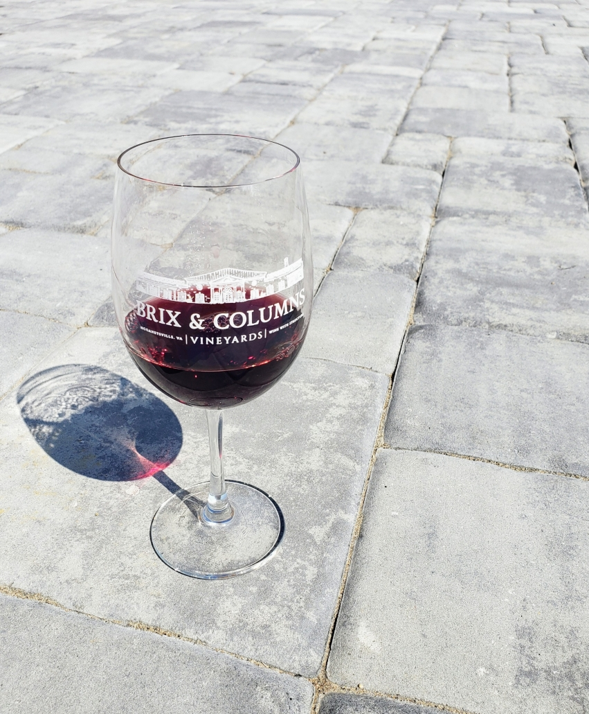Look at the shadows to see this glass of Cabernet Franc showing its legs.